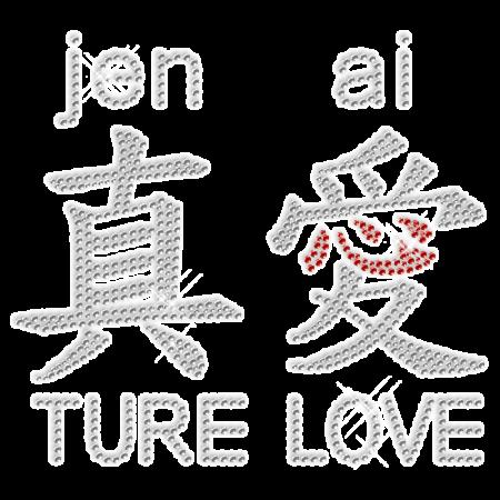 "Crystal Shining Rhinestone Chinese Word ""True Love"" Iron on Clothes"