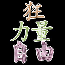 """Hot Fix Chinese Word Rhinestone Combo """"Craziness, strength win freedom"""""""
