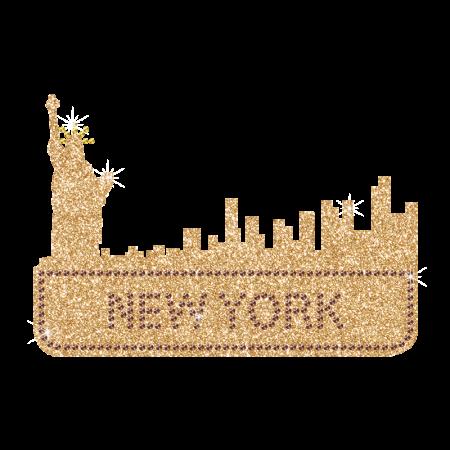 New York City Silhouette Iron on Glitter Transfer