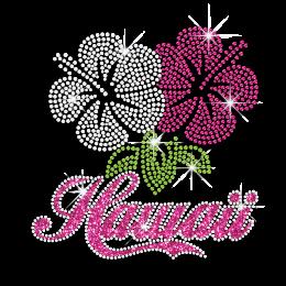 Magic Show Beautiful Hawaii Hibiscus Flower Iron-on Neon Rhinestud Transfer