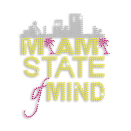 Magic Show Miami Landscape State of Mind Neon Stud Iron on Transfer