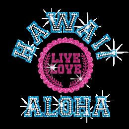 Magic Show Hawaii Live Love Ahola Iron-on Neon Stud Glitter Transfer