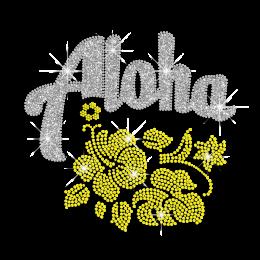 Magic Show Hawaii Hibiscus Aloha Neon Stud Glitter Iron-on Transfer