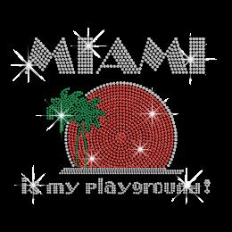 Custom Miami Is My Playground Neon Stud Glitter Iron-on Transfers