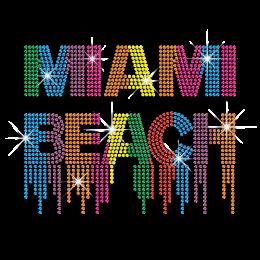 Magic Show Colorful Miami Beach Neon-Rhinestud Iron-on Transfer