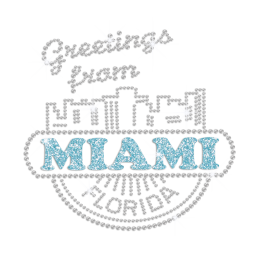 Greetings from Miami Iron on Metal Nailhead Transfer Motif