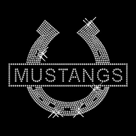 Shining Rhinestone Iron on Mustangs Horseshoe Motif for Shirts