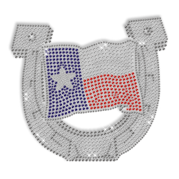 Shining Rhinestone Iron on Flag and Horseshoe Motif for Clothes