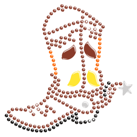 Colorful Cowboy Boot Iron on Rhinestone Transfer for Clothes