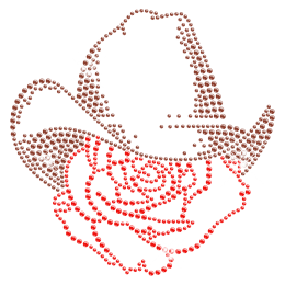 Ingenious Cowboy Hat with Rose Iron on Rhinestone Transfer for Clothes