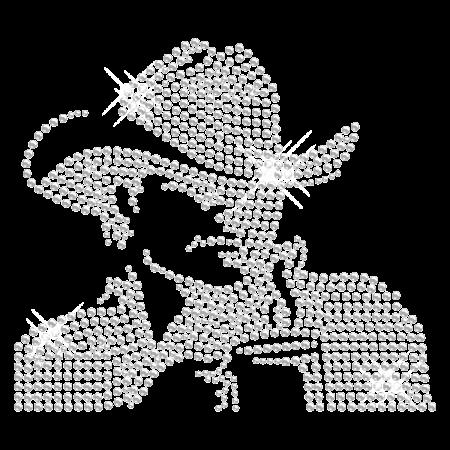 Cool Crystal Cowboy Hot-fix Rhinestone Motif