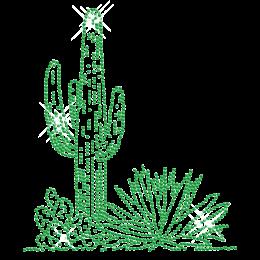 Rhinestone Bright Green Cactus Iron on Motif