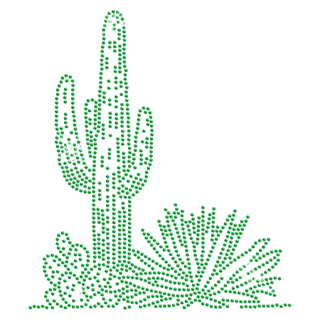 Rhinestone Bright Green Cactus Iron on Motif