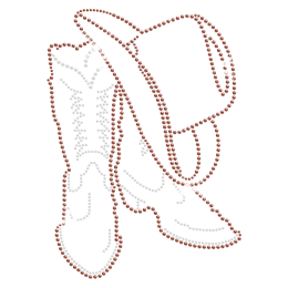Distinctive Cowboy Boot and Hat Iron on Rhinestone Transfer