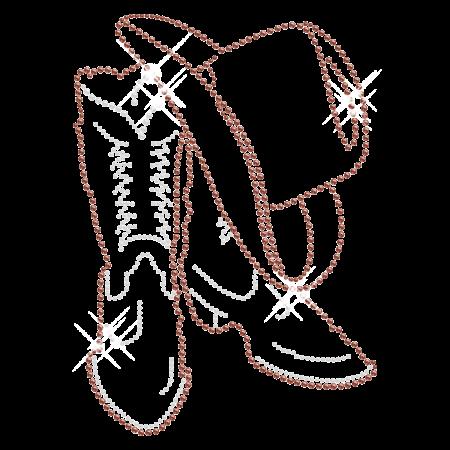 Distinctive Cowboy Boot and Hat Iron on Rhinestone Transfer