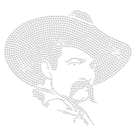 Crystal Cowboy Iron on Rhinestone Motif
