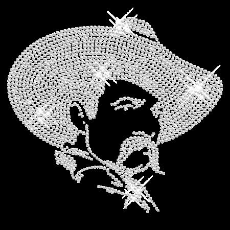 Crystal Cowboy Iron on Rhinestone Motif