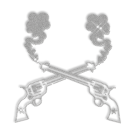 Sparkling Double Guns of Cowboy Rhinestone Iron on Transfer Motif for Clothes