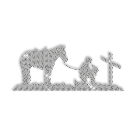 Sparkling Cowboy in the Graveyard Rhinestone Iron on Transfer Motif for Shirts