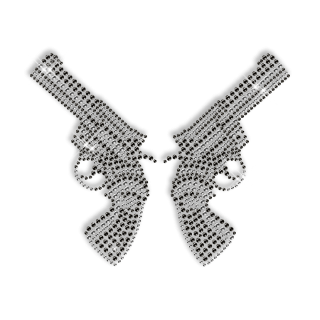 Sparkling Two Guns for Cowboys Rhinestone Iron on Transfer Motif for Clothes