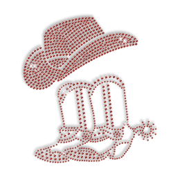 Sparkling Pure Red Cowboy Boots and Hat Rhinestone Iron on Transfer Design for Clothes