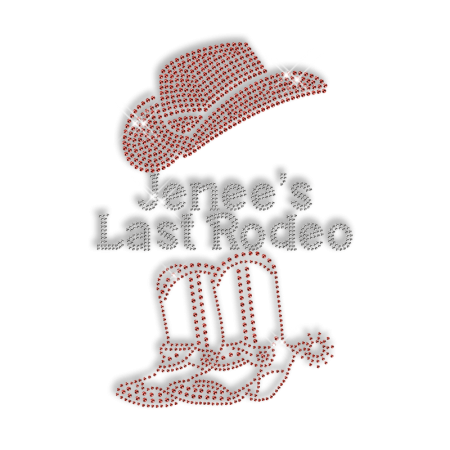 Sparkling Jenee's Last Rodeo Cowboy Boots and Hat Rhinestone Iron on Transfer Motif for Clothes