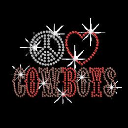 Hot Custom Peace Love Cowboy Rhinestone Iron ons Transfer