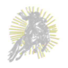 Sparkling Cowboy Riding A Horse Iron on Rhinestone Transfer Motif