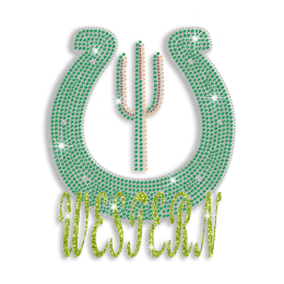 Green Western Cleuis Cactus Iron-on Rhinestone Transfer Design