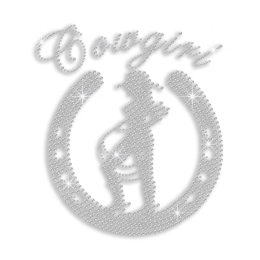 Crystal Cowgirl with Horseshoe Iron-on Rhinestone Transfer