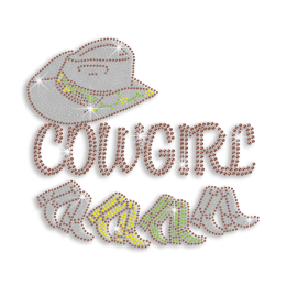 Pretty Cowgirl Hat & Boots Iron-on Rhinestone Transfer
