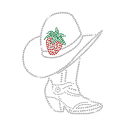 Strawberry Cowgirl Hat & Boot Iron on Rhinestone Transfer