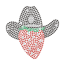 A Cowboy with A Neon Black Hat Iron on Rhinestud Transfer