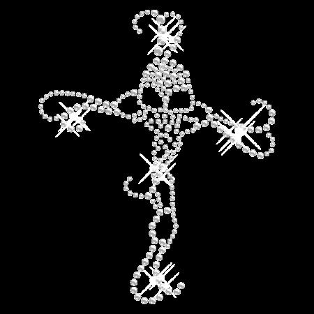 Clear Crystal Cross Rhinestone Iron ons