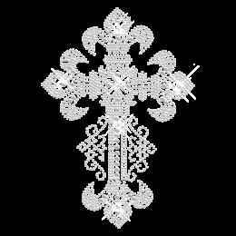 Floral Cross Crystal Hot Fix Motif Design