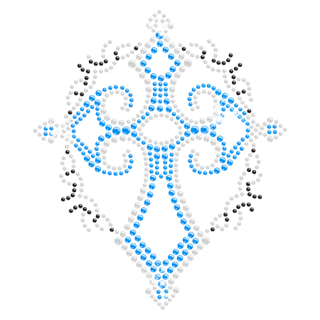Exquisite Cross Iron on Crystal Design for t shirt