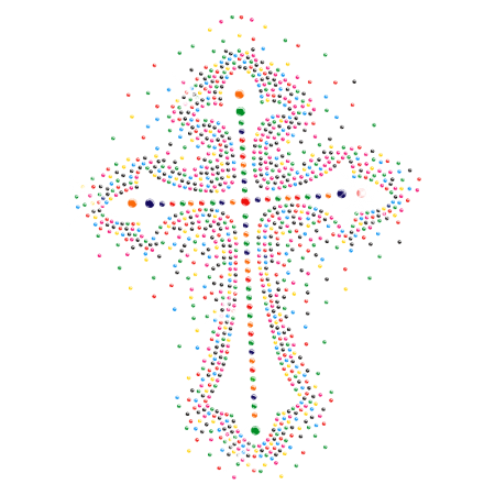 Colorful Crystal Cross Iron on Motif for t shirt