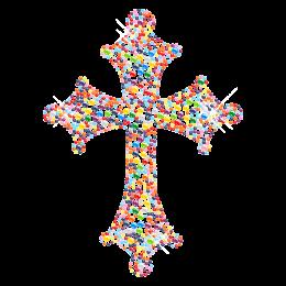 Multi-color Cross Bling Crystal Hot-fix Motif