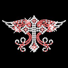 Cross with Wing Hot-fix Rhinestone Pattern
