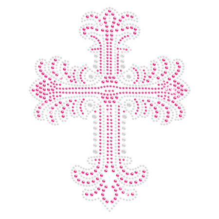 Hot-fix Cross Rhinestone and Rhinestud Motif