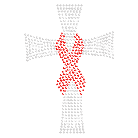 Cross with Red Ribbon Rhinestone Iron on Transfer