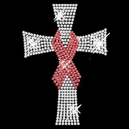 Cross with Red Ribbon Rhinestone Iron on Transfer