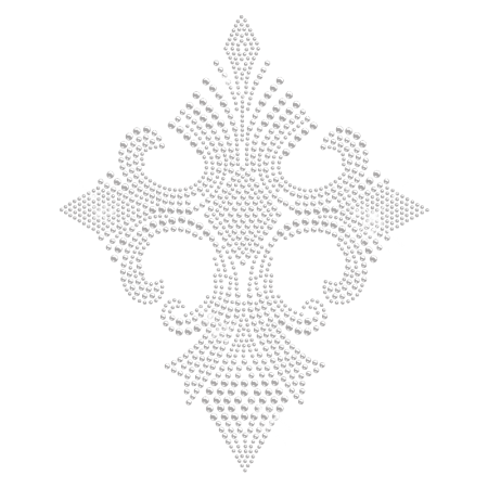 Iron on Fleur-de-lis Cross Rhinestone Transfer