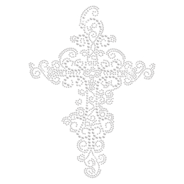 Exquisite Cross Iron on Strass Motif for Clothing