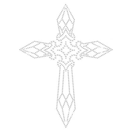 Sparkling Iron on Strass Cross Motif Design