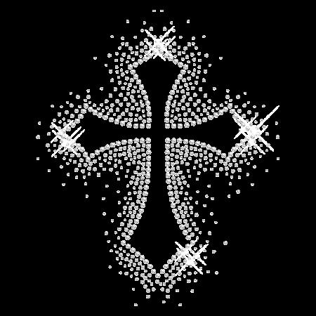 Random Clear Stone Iron On Cross Motif