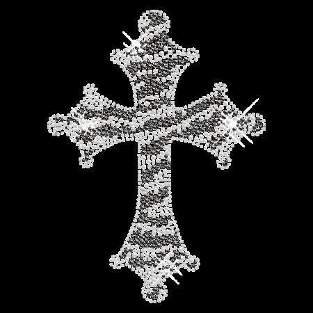 Zebra Print Cross Hot-fix Stone Design for Clothing