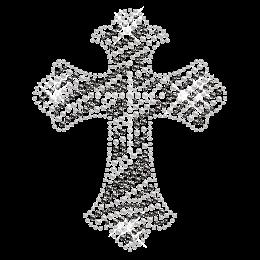Iron on Stone Cross with Zebra Print Transfer