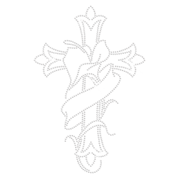 Cross with Lily Bling Bling Iron on Motif Design for t shirt