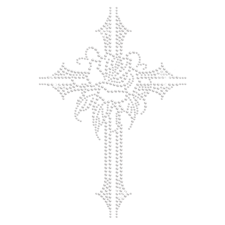 Clear Stone Cross with Rose Iron on Motif Design
